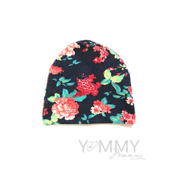 Шапка цвет джинса/розовые цветы 510.1.123 Y@mmyMammy