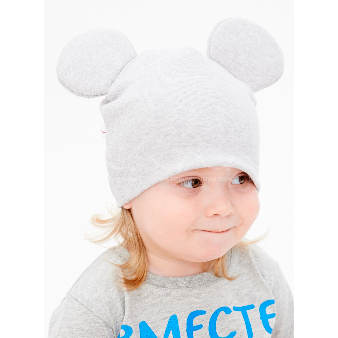 Теплая детская шапка с ушками вязаная спицами для мальчика 47