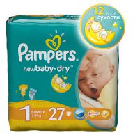 Подгузники Pampers New Baby-Dry Размер 1 (New Born) 2-5кг, 27 шт.