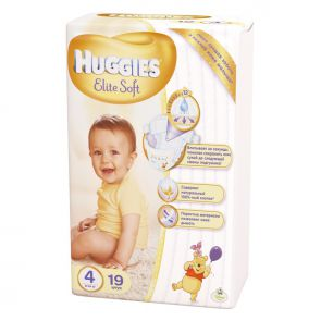 Подгузники Huggies Elite Soft 4, 8-14кг, 19шт.