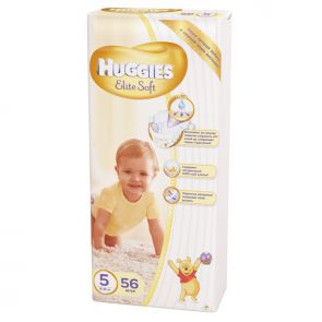 Подгузники Huggies Elite Soft 5, 12-22кг, 56шт.