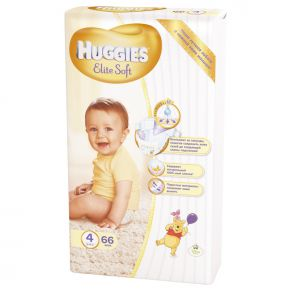 Подгузники Huggies Elite Soft 4, 8-14кг, 66шт.