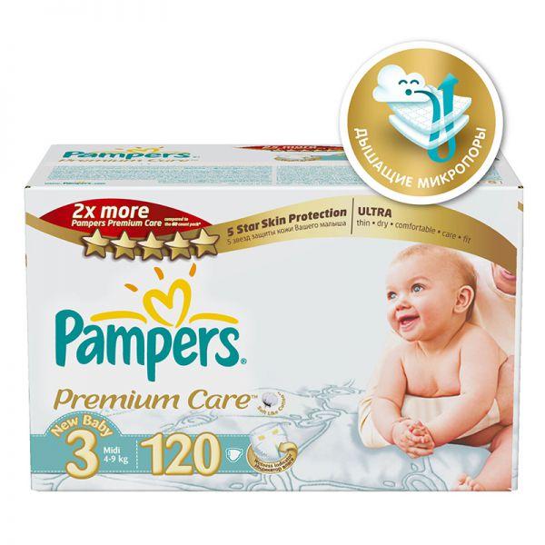 db2ec030de0c Купить подгузники Pampers Premium Care 4-9 кг (3 размер, midi), 120 ...