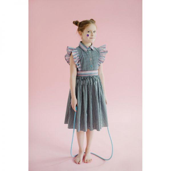 e5b3906e4b631 Хлопковое платье в черно-белую полоску с розовыми оборками и поясом STC-013  Leya ...